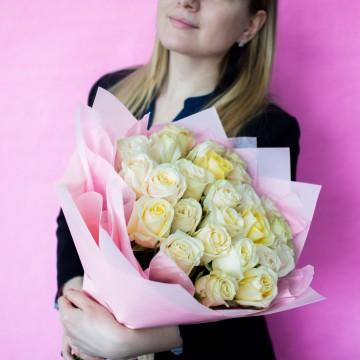 Белая роза 40 см