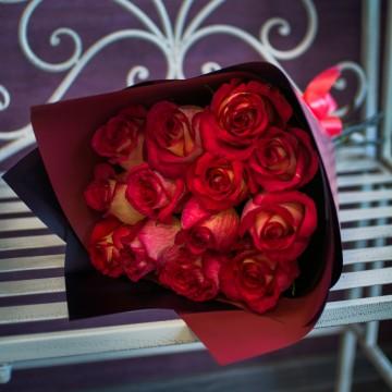 13 кирпично-красных роз
