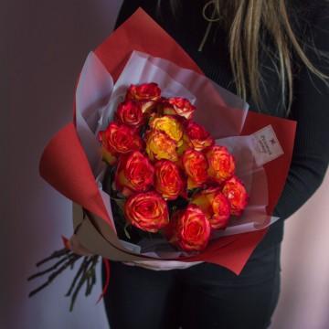 Букет из 15 оранжевых роз