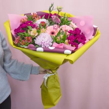 Букет с хризантемами «Хорошее настроение»